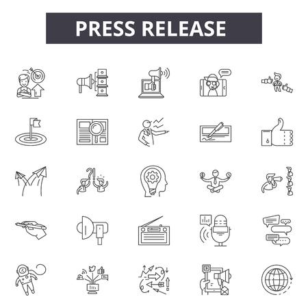 Iconos de línea de comunicado de prensa, conjunto de signos, vector. Ilustración del concepto de esquema de comunicado de prensa: prensa, medios, lanzamiento, periódico, web, noticias, información, marketing Ilustración de vector