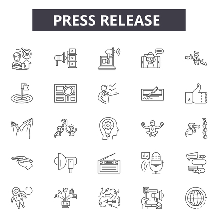 Press release line icons, signs set, vector. Press release outline concept illustration: press,media,release,newspaper,web,news,information,marketing
