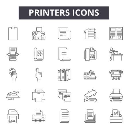 Printers line icons, signs set, vector. Printers outline concept illustration: printer,paper,print,black,machine Vector Illustration