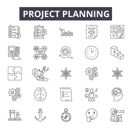 Project planning line icons, signs set, vector. Project planning outline concept illustration: project,plan,business,demanagement,flat