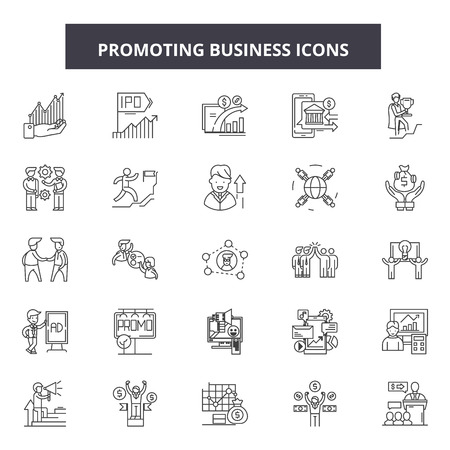 Promoting buisness line icons, signs set, vector. Promoting buisness outline concept illustration: promotion,business,debuisness,web,concept,flat Standard-Bild - 123511665