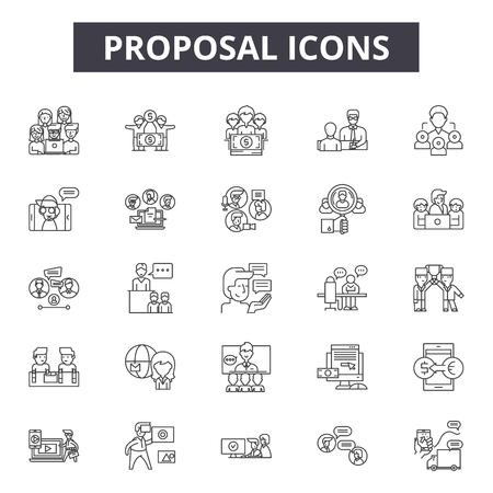 Iconos de línea de propuesta, conjunto de signos, vector. Ilustración del concepto de esquema de propuesta: propuesta, servicio, concepto, negocio, proponer, agencia