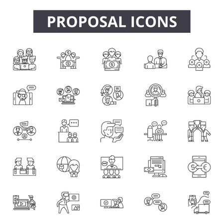 Proposal line icons, signs set, vector. Proposal outline concept illustration: proposal,service,concept,business,propose,agency