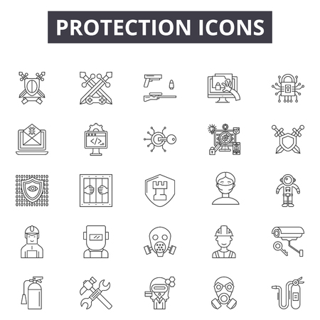 Protection line icons, signs set, vector. Protection outline concept illustration: protection,security,safe,safety,shield Illustration