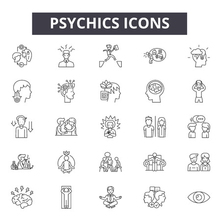 Psychics line icons, signs set, vector. Psychics outline concept illustration: psychic,deelement,isolated