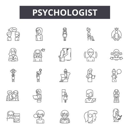 Psychologist line icons, signs set, vector. Psychologist outline concept illustration: psychologist,psychology,psychotherapy,therapy,brain,problem,psychiatrist,health