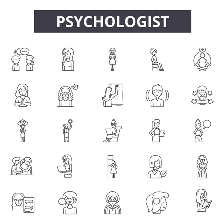 Psychologist line icons, signs set, vector. Psychologist outline concept illustration: psychologist,psychology,psychotherapy,therapy,brain,problem,psychiatrist,health
