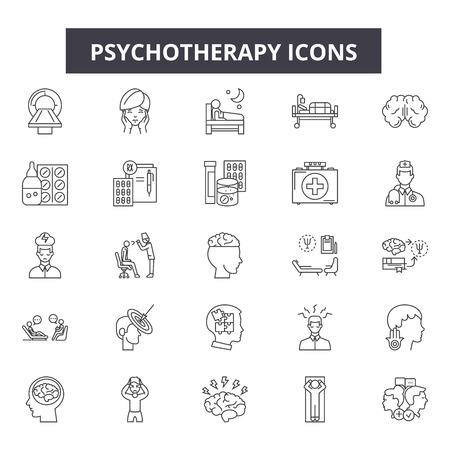 Icônes de ligne de psychothérapie, ensemble de signes, vecteur. Illustration de concept de contour de psychothérapie : psychothérapie, psychologie, santé, cerveau, thérapie, psychologue, concept