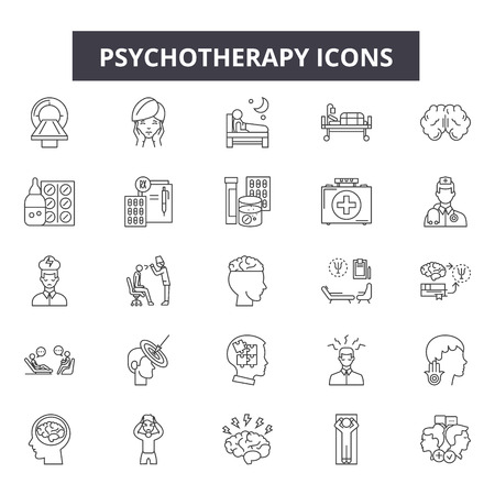 Iconos de línea de psicoterapia, conjunto de signos, vector. Ilustración del concepto de esquema de psicoterapia: psicoterapia, psicología, salud, cerebro, terapia, psicólogo, concepto