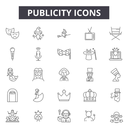 Publicity line icons, signs set, vector. Publicity outline concept illustration: publicity,advertising,marketing,business,media,advertisement,promotion,commercial