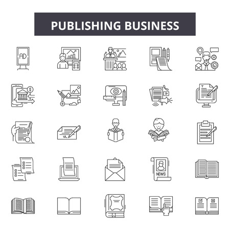 Pubblicazione di icone della linea di business, set di segni, vettore. Illustrazione del concetto di struttura aziendale di pubblicazione: business, depaper, flat, public, web Vettoriali