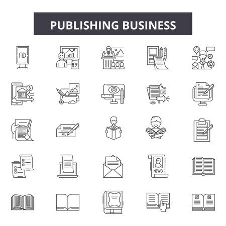 Publishing business line icons, signs set, vector. Publishing business outline concept illustration: business,depaper,flat,publish,web
