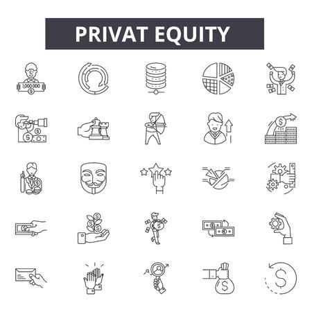 Private Equity-Liniensymbole, Zeichensatz, Vektor. Darstellung des Konzepts des privaten Beteiligungskapitals: Geschäft, Finanzen, Privat, Eigenkapital, Finanzen, Geld, Investitionen Vektorgrafik
