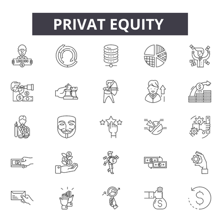 Privat equity line icons, signs set, vector. Privat equity outline concept illustration: business,finance,private,equity,financial,money,investment