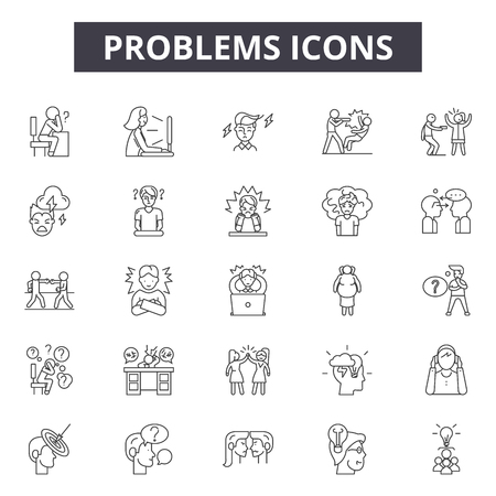 Problems line icons, signs set, vector. Problems outline concept illustration: problem,flat,attention,mark,exclamation,danger