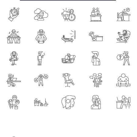 Procrastination line icons, signs set, vector. Procrastination outline concept illustration: procrastination,business,management,time,concept Archivio Fotografico - 123511670