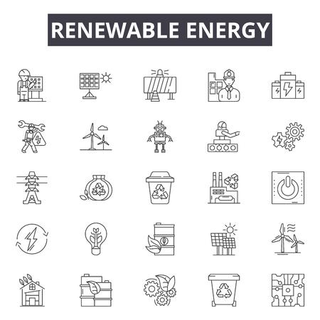 Renewable services line icons, signs set, vector. Renewable services outline concept illustration: service,repair,renewable,concept,technology,business