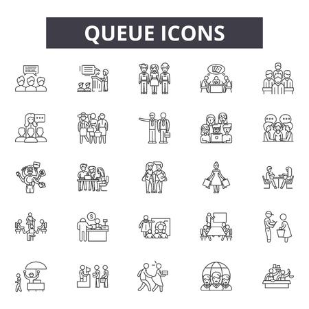 Queue line icons, signs set, vector. Queue outline concept illustration: queue,flat,crowd,group,waiting  イラスト・ベクター素材