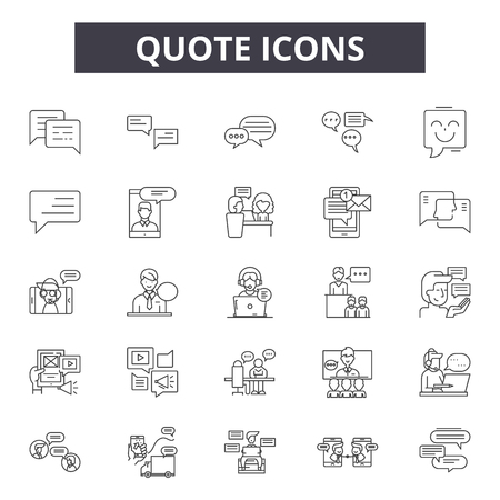 Quote line icons, signs set, vector. Quote outline concept illustration: quote,text,quotation,speech,comment Illustration