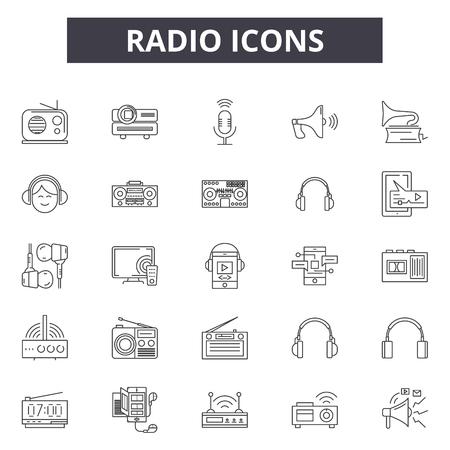 Radio line icons, signs set, vector. Radio outline concept illustration: radio,web,media,communication,detechnology