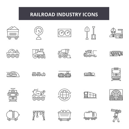 Railroad industry line icons, signs set, vector. Railroad industry outline concept illustration: railroad,transportation,detrain,transport,industry Vector Illustration
