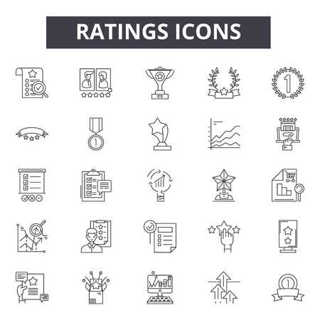 Ratings line icons, signs set, vector. Ratings outline concept illustration: star,rating,rate,flat,review