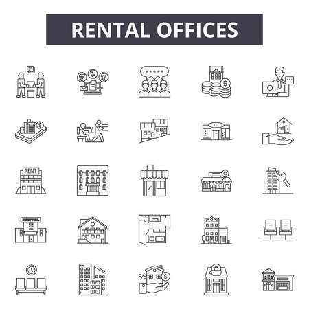 Rental offices line icons, signs set, vector. Rental offices outline concept illustration: office,rental,apartment,home,house,real,sale