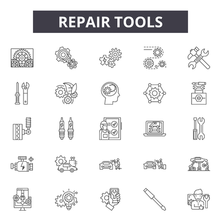 Repair tools line icons, signs set, vector. Repair tools outline concept illustration: repair,service,work,settings,wrench,spanner,web