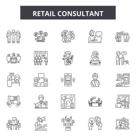 Retail consultant line icons, signs set, vector. Retail consultant outline concept illustration: retail,business,customer,store,support,help
