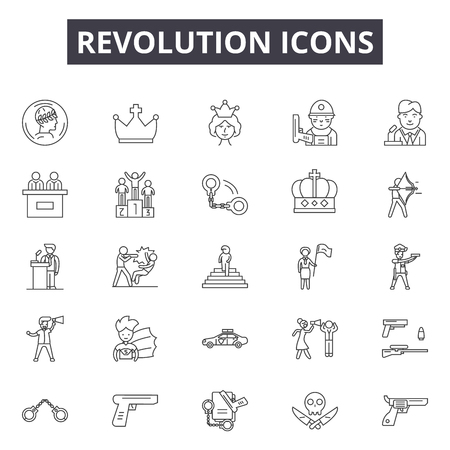 Revolution line icons, signs set, vector. Revolution outline concept illustration: revolution,defist,freedom,concept,background,symbol Ilustração