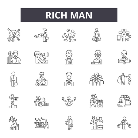 Rich man line icons, signs set, vector. Rich man outline concept illustration: rich,man,business,money,person,businessman,people