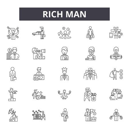 Rich man line icons, signs set, vector. Rich man outline concept illustration: rich,man,business,money,person,businessman,people