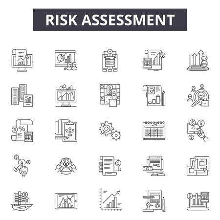 Risk assessment line icons, signs set, vector. Risk assessment outline concept illustration: risk,assessment,analysis,business,management,control,audit,data