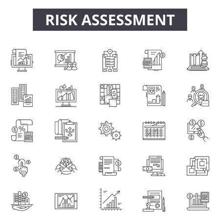Risk assessment line icons, signs set, vector. Risk assessment outline concept illustration: risk,assessment,analysis,business,management,control,audit,data Illustration