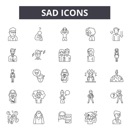 Sad line icons, signs set, vector. Sad outline concept illustration: sad,happy,face,emotsmile,web,emotion