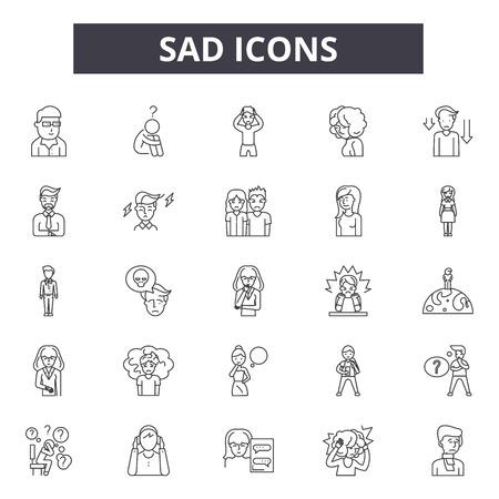 Sad line icons, signs set, vector. Sad outline concept illustration: sad,happy,face,emotsmile,web,emotion