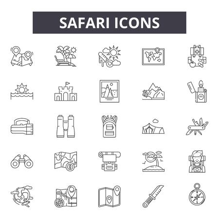 Safari line icons, signs set, vector. Safari outline concept illustration: safari,elephant,animal,africa,travel,lion