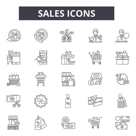Sales consultants line icons, signs set, vector. Sales consultants outline concept illustration: business,service,web,support,sale
