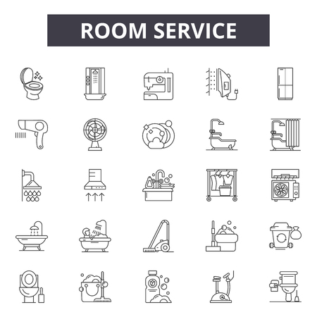 Room service line icons, signs set, vector. Room service outline concept illustration: service,hotel,room,restaurant,travel,bed,food Illustration