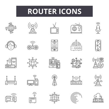 Ikony linii routera, zestaw znaków, wektor. Ilustracja koncepcja zarys routera: router, internet, sieć bezprzewodowa, technologia, sieć, sieć, komunikacja