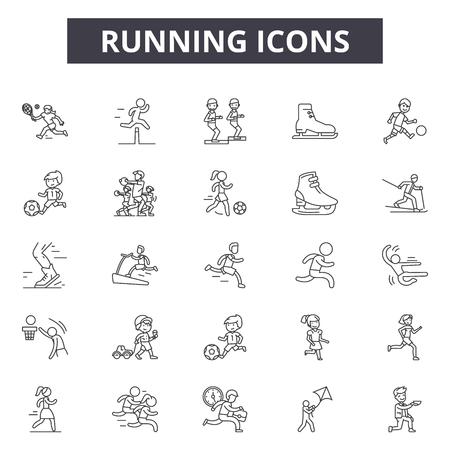 Runninig line icons, signs set, vector. Runninig outline concept illustration: sport,healthy,training,speed,fitness,race
