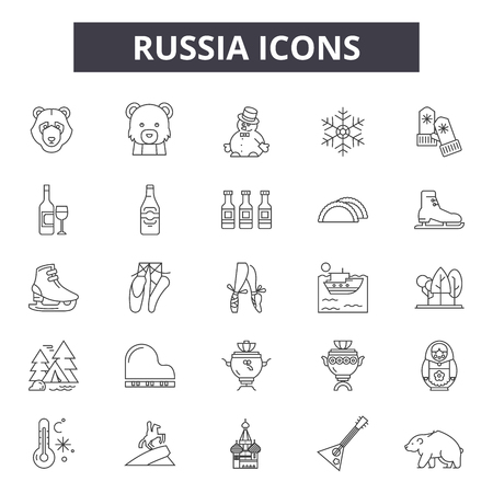 Russia line icons, signs set, vector. Russia outline concept illustration: russia,russian,moscow,travel,design Illustration