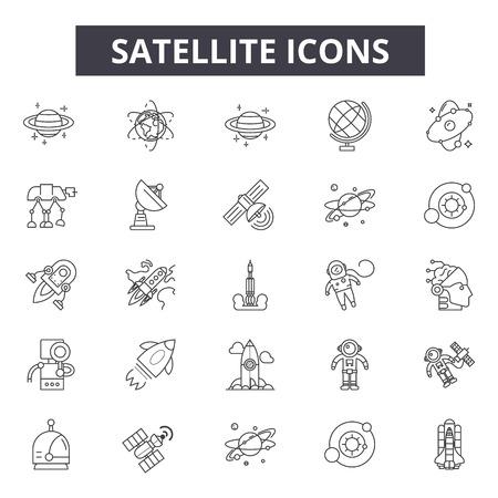 Icônes de ligne satellite, ensemble de signes, vecteur. Illustration de concept de contour satellite : satellite, communication, technologie, connexion, spatial Vecteurs
