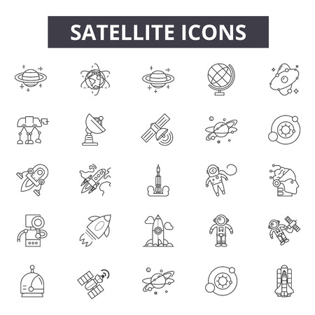 Iconos de línea de satélite, conjunto de signos, vector. Ilustración del concepto de esquema de satélite: satélite, comunicación, tecnología, conexión, espacial Ilustración de vector