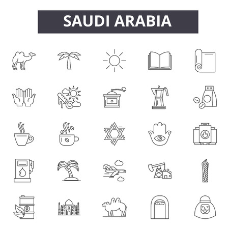 Saudi-Arabien Liniensymbole, Zeichensatz, Vektor. Saudi-Arabien Umrisskonzept Illustration: Arabien, Hintergrund, Saudi-Arabien, Land, Reisen Vektorgrafik