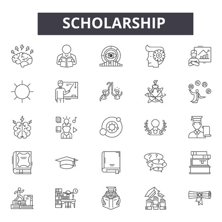 Scholarship line icons, signs set, vector. Scholarship outline concept illustration: education,scholarship,university,destudent,cap,college Illustration