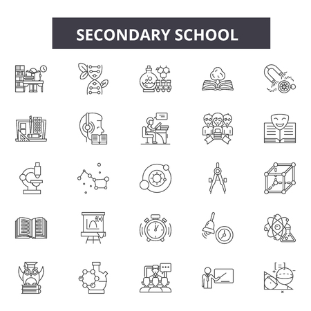 Secondary school line icons, signs set, vector. Secondary school outline concept illustration: school,education,university,college,secondary,isolated
