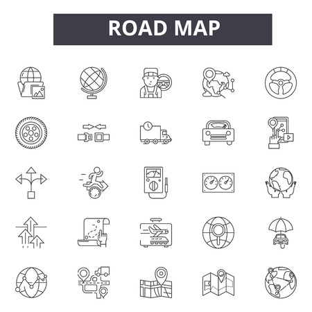 Road map line icons, signs set, vector. Road map outline concept illustration: road,map,direction,travel,location,pointer
