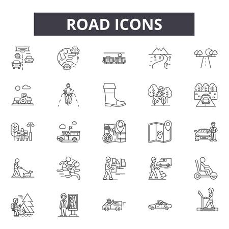 Road line icons, signs set, vector. Road outline concept illustration: road,traffic,highway,way,travel,map Ilustração
