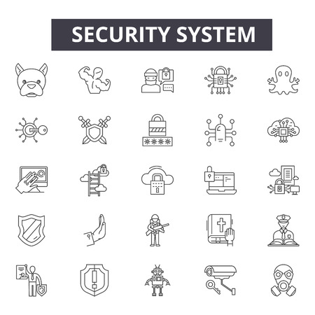 Security system line icons, signs set, vector. Security system outline concept illustration: security,system,protection,lock,safety